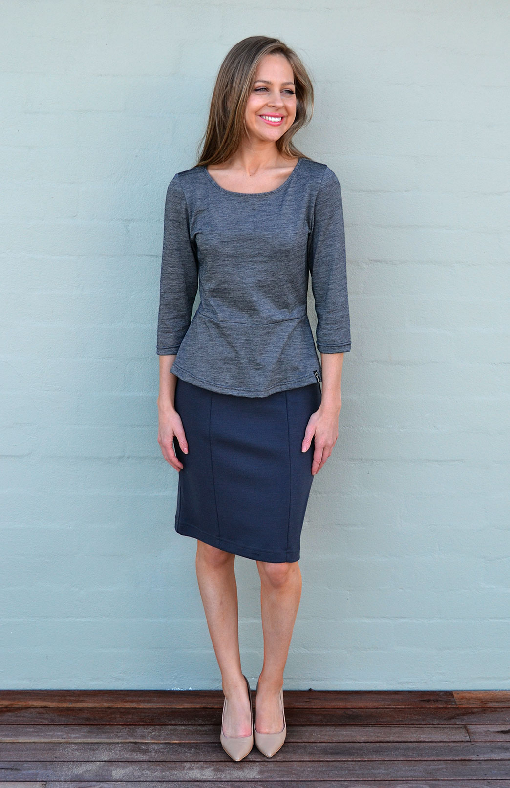 Straight Skirt - Women's Steel Grey Straight Office Skirt - Smitten Merino Tasmania Australia