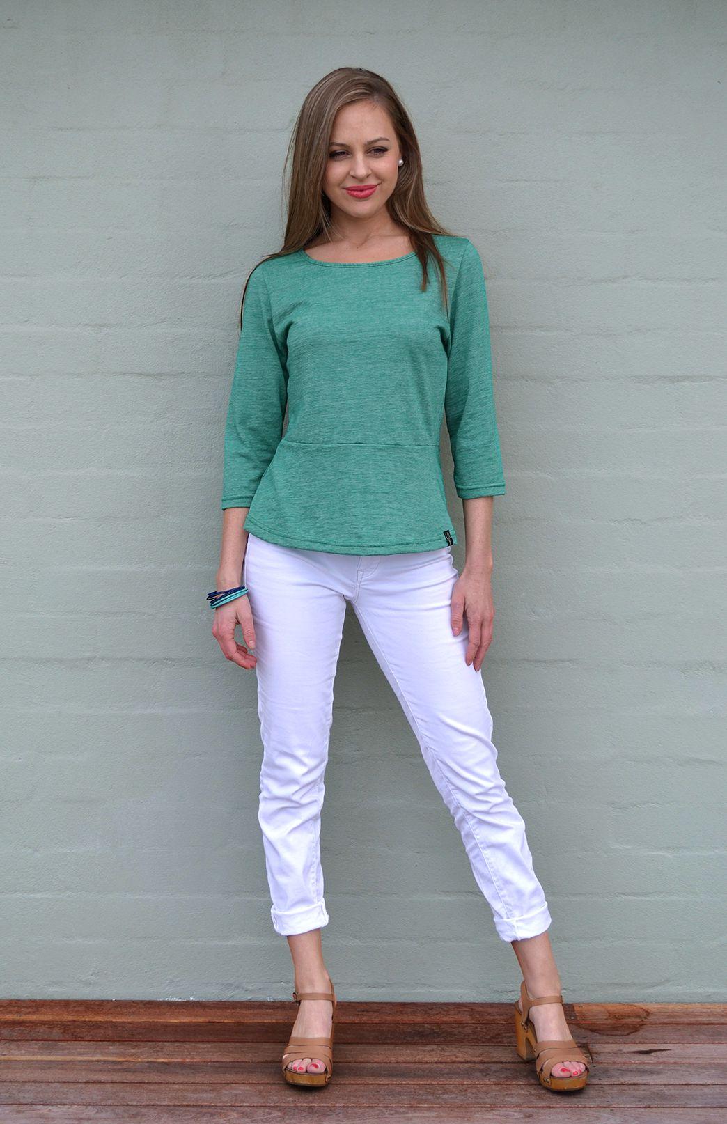 Peplum Top - 3/4 Sleeve - Women's Green Pinstripe Wool Cotton Blend 3/4 Sleeve Spring Top - Smitten Merino Tasmania Australia