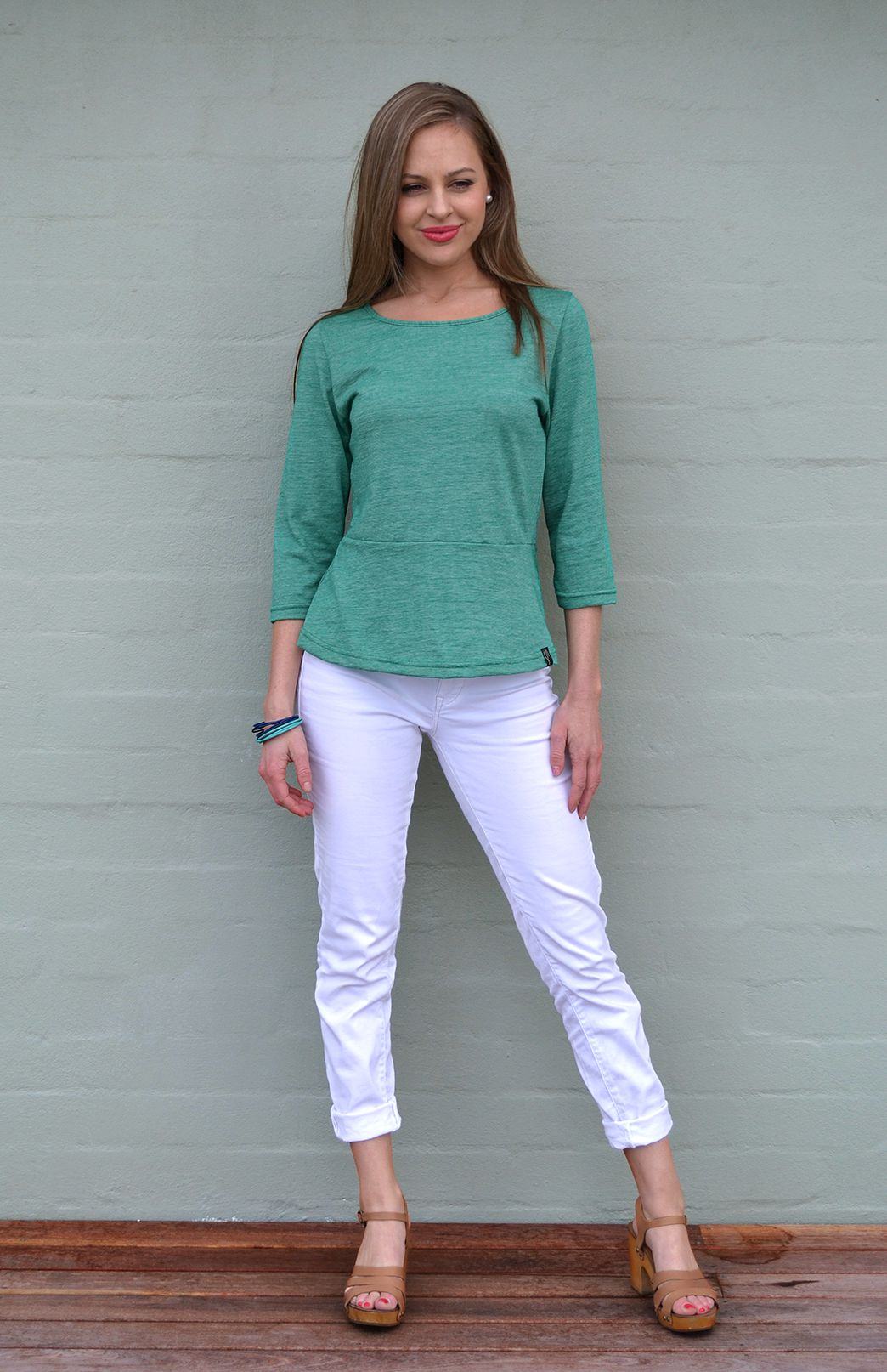 Peplum Top - 3/4 Sleeve - Women's Green Pinstripe Wool Cotton Blend 3/4 Sleeve Spring Top - Smitten Merino Tasmania Australia