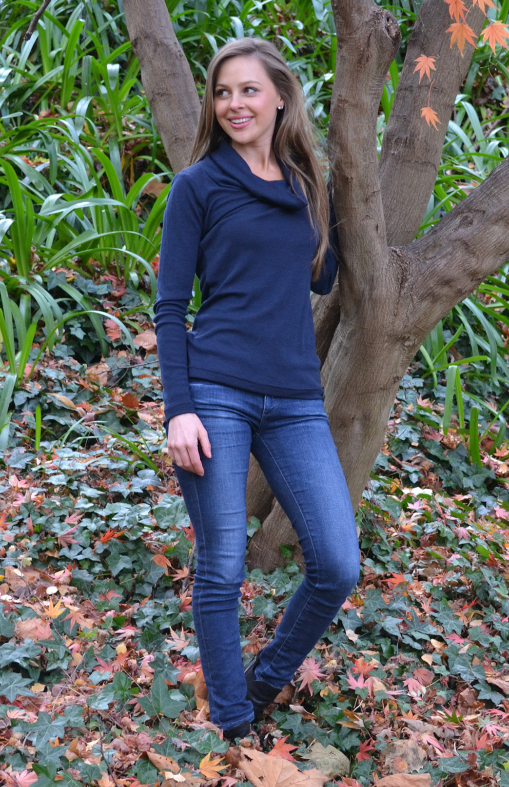 Cowl Neck Top - Long Sleeved - Women's Blue Wool Long Sleeved Cowl Neck Top - Smitten Merino Tasmania Australia