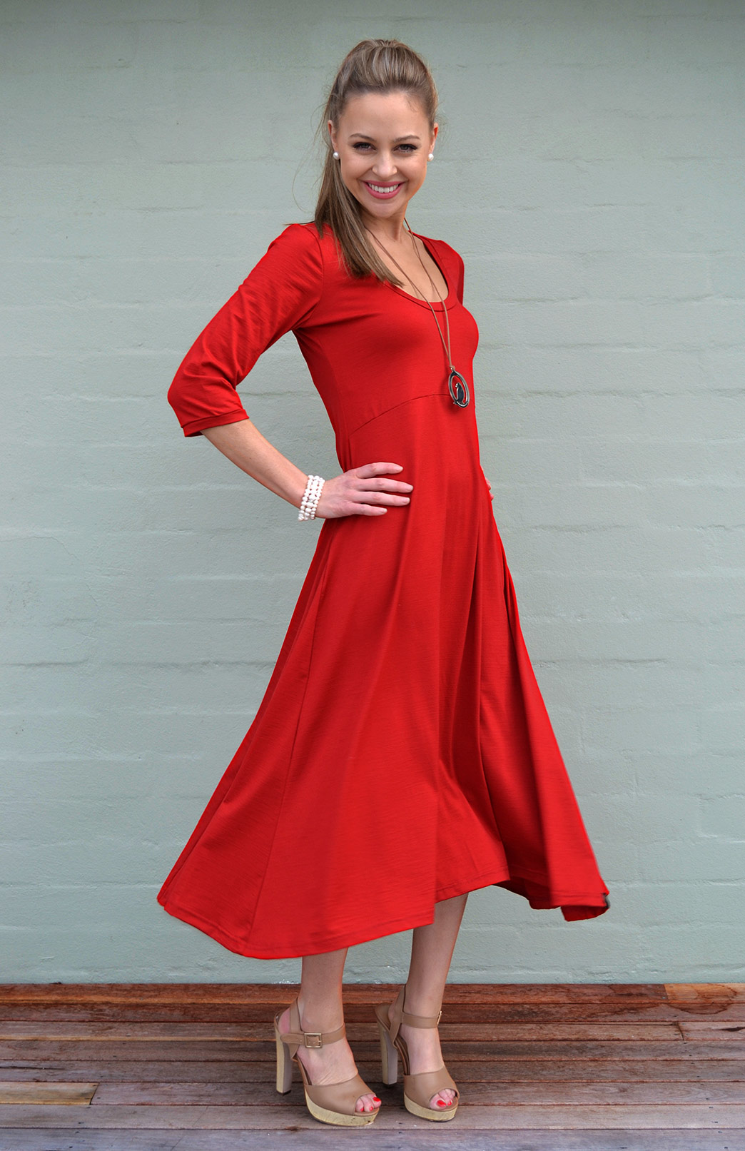 Milly Dress - Women's Flame Red Merino Wool Milly Dress with Curved Hem - Smitten Merino Tasmania Australia