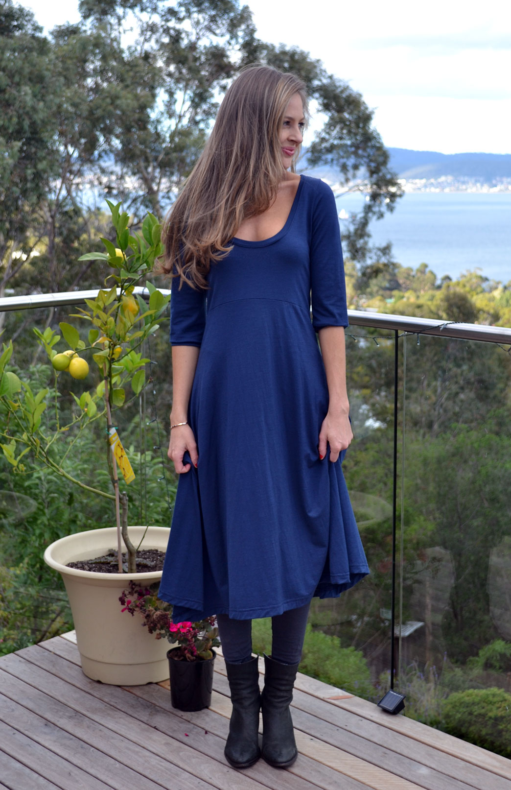 Milly Dress - Women's Indigo Blue Merino Wool Milly Dress with Curved Hem - Smitten Merino Tasmania Australia
