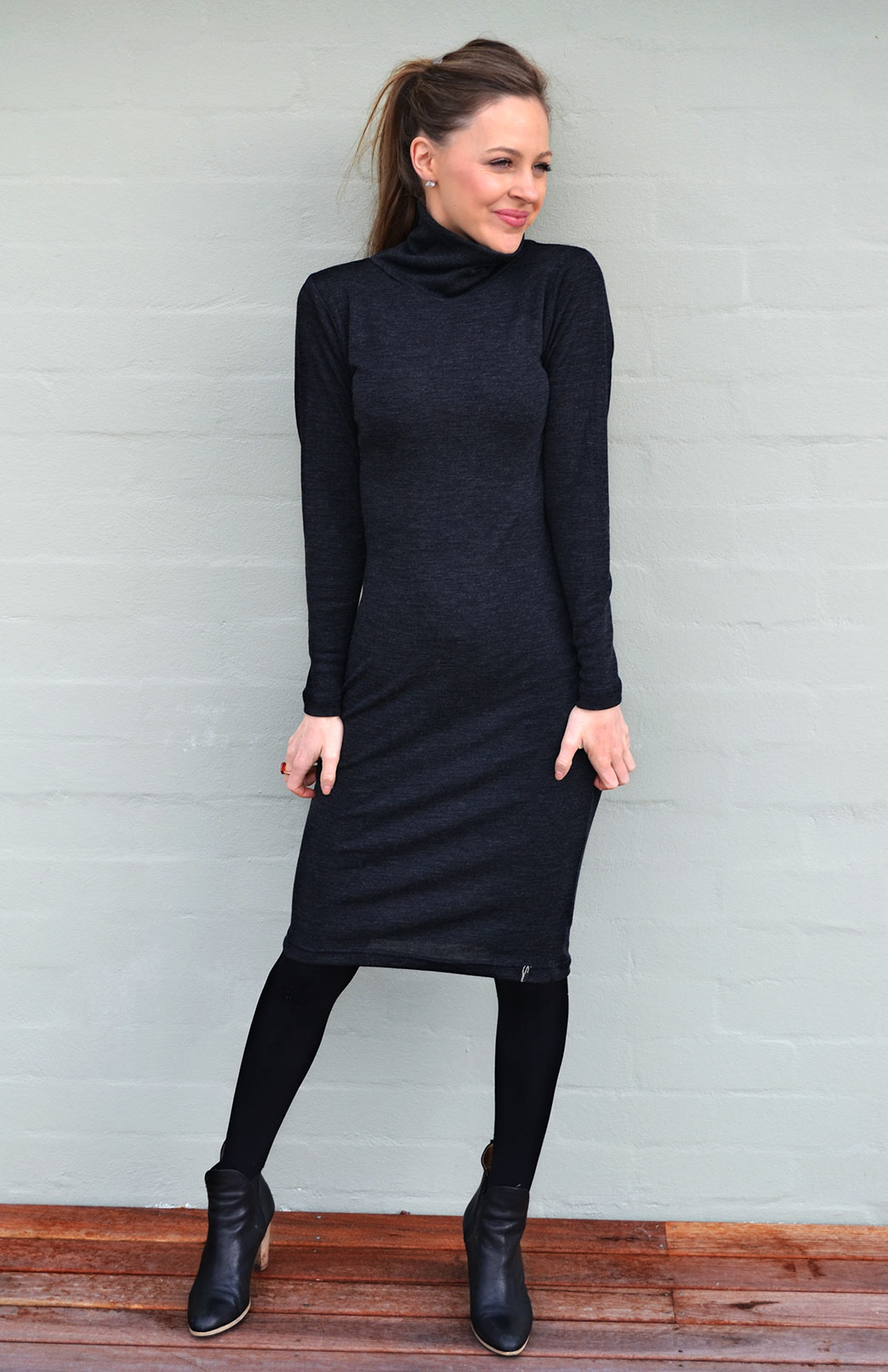 Polo Neck Dress - Women's Merino Wool Long Sleeve Polo Neck Winter Dress - Smitten Merino Tasmania Australia