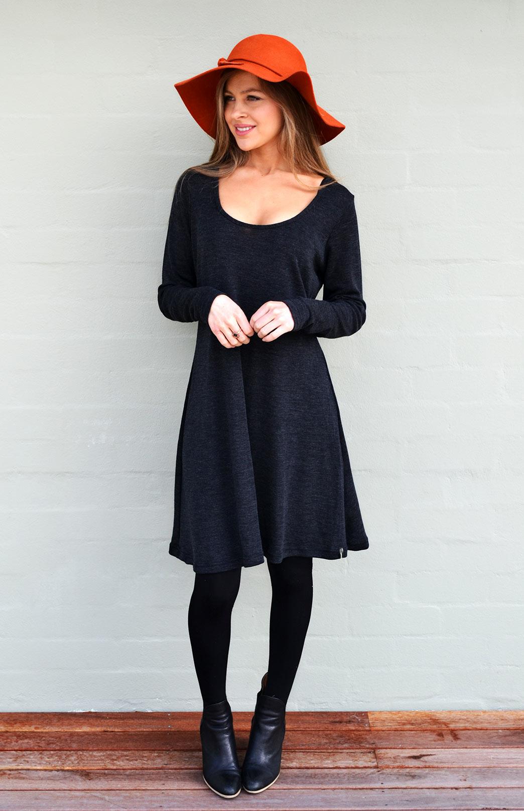 Rib Swing Dress - Women's Pull-On Black Long Sleeved Heavyweight Merino Wool Winter Dress - Smitten Merino Tasmania Australia