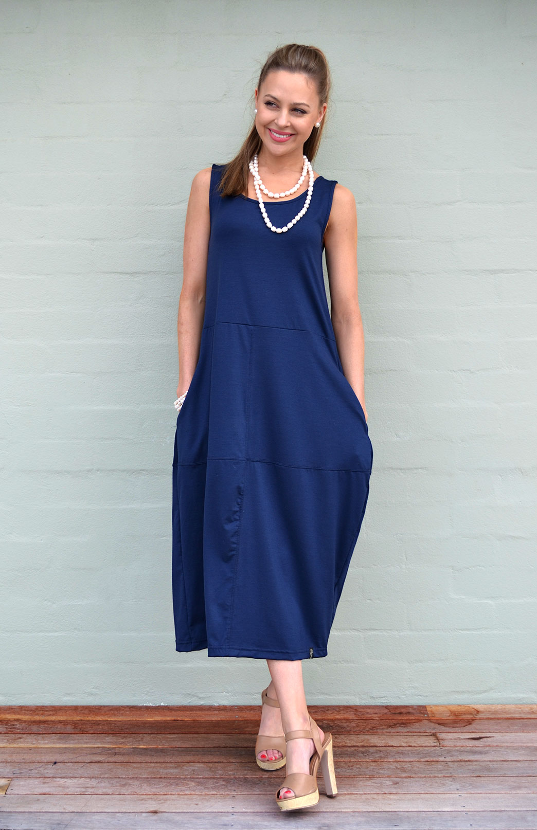 Rosebud Dress - Women's Indigo Blue Sleeveless Wool Dress with Side Pockets - Smitten Merino Tasmania Australia