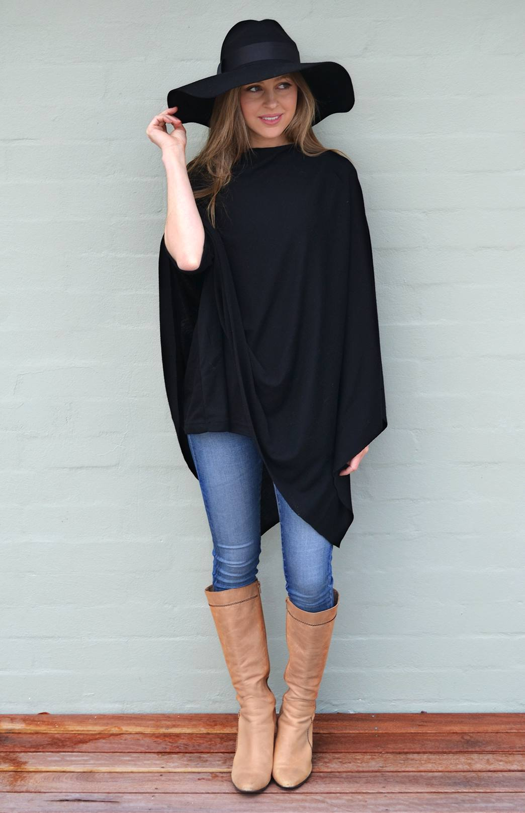 Oversized Poncho - Plain - Women's One Size Fits All Black Wool Poncho - Smitten Merino Tasmania Australia