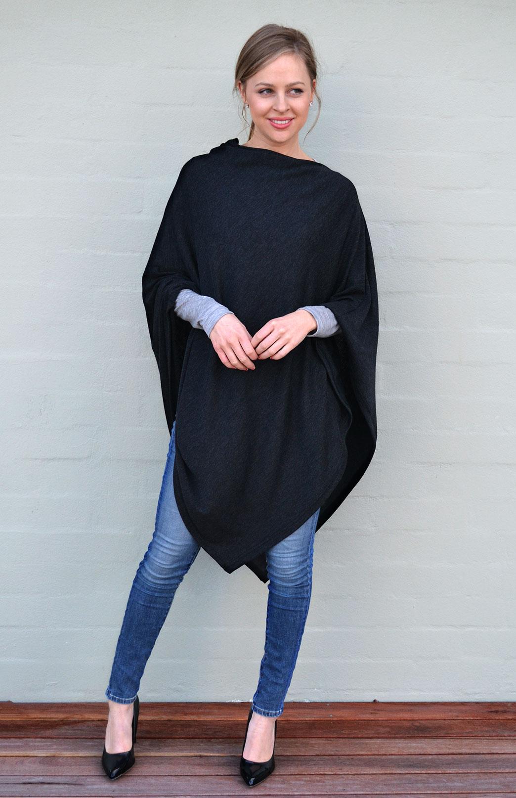 Oversized Wool Poncho Women S Charcoal Grey Wool