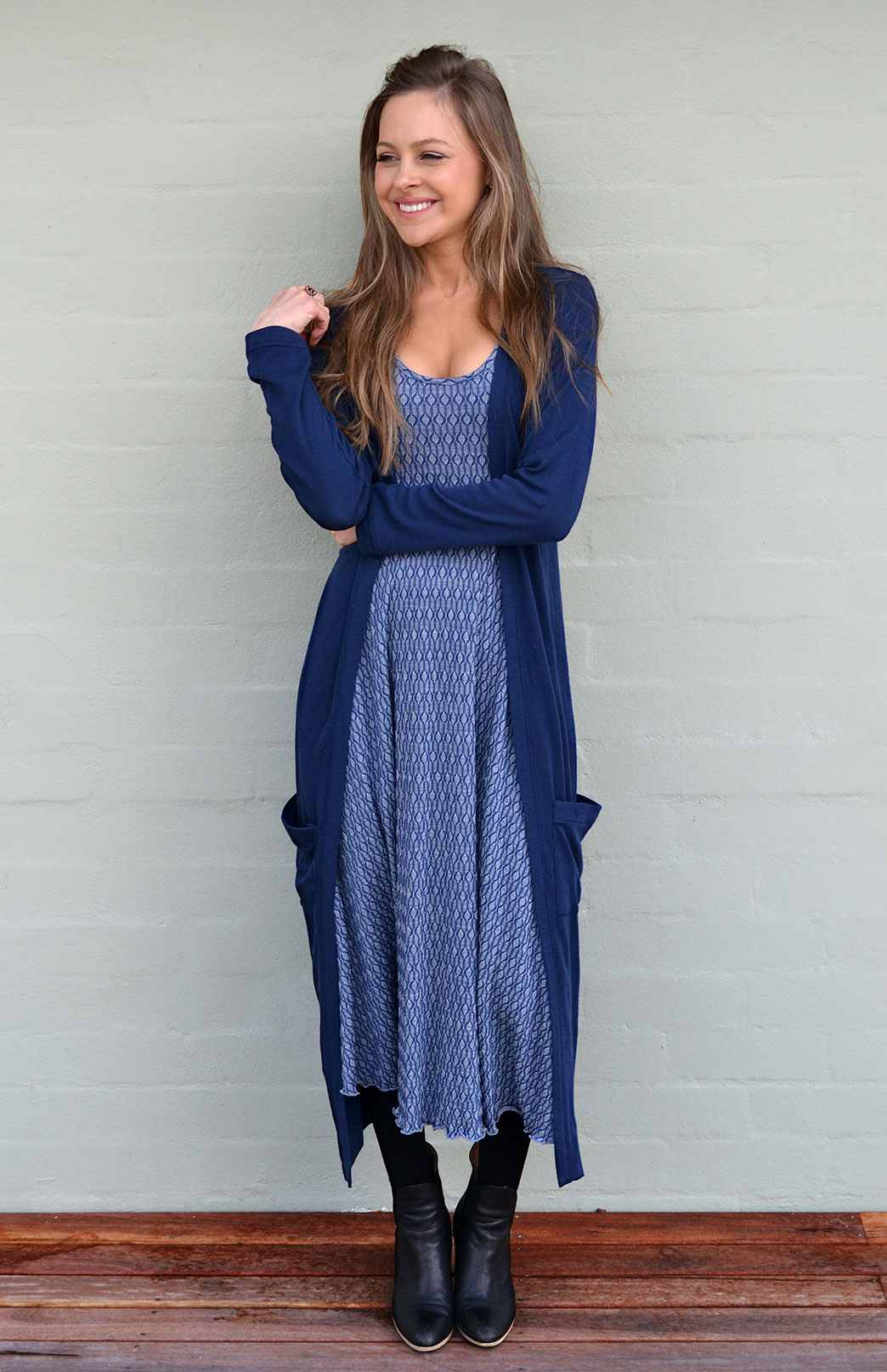 Coatigan - Women's Long Line Dark Blue Indigo Long Sleeved Cardigan with Pockets - Smitten Merino Tasmania Australia