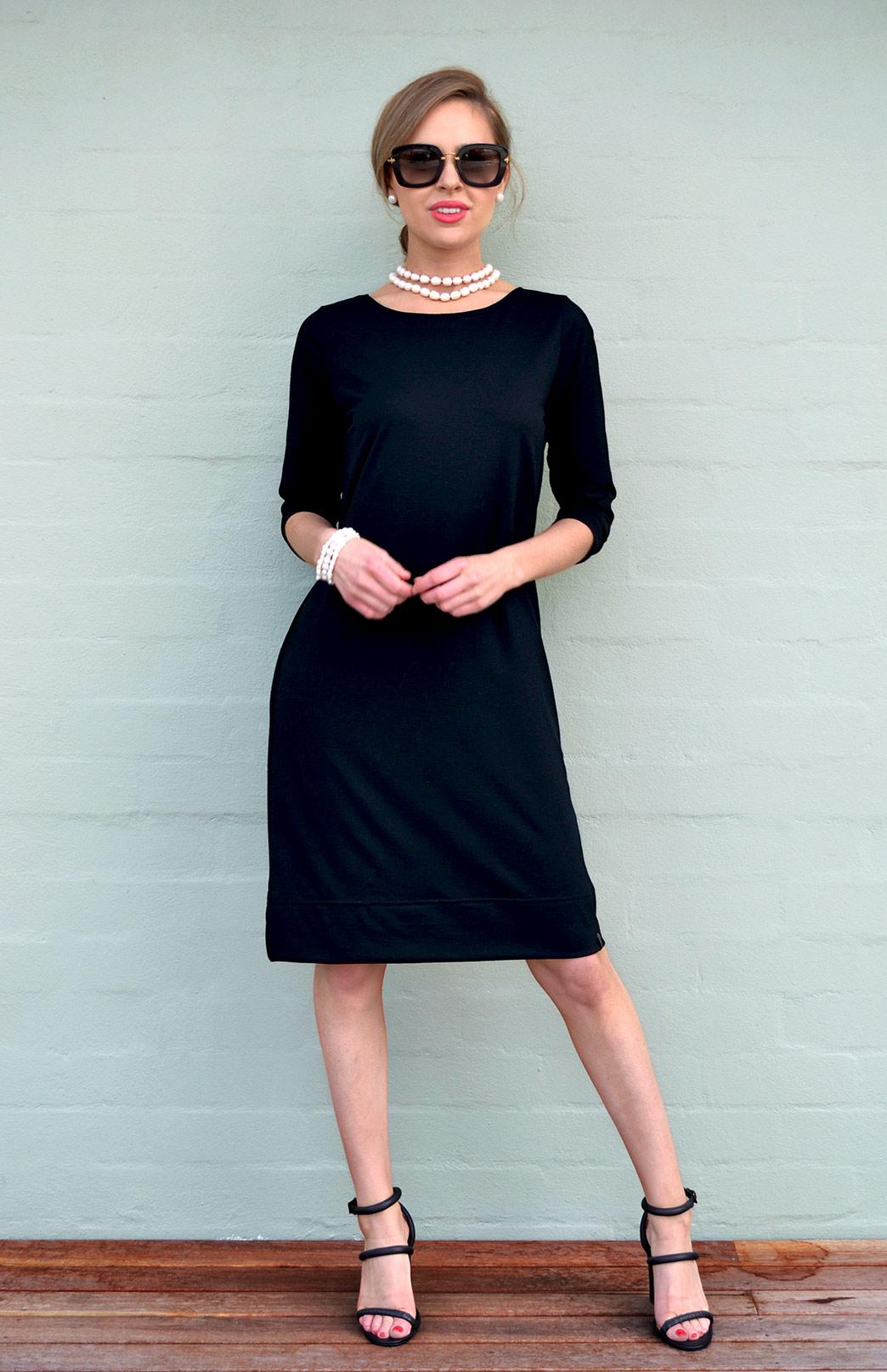 Audrey Shift Dress - Women's Black Merino Wool Classic Knee Length Dress - Smitten Merino Tasmania Australia