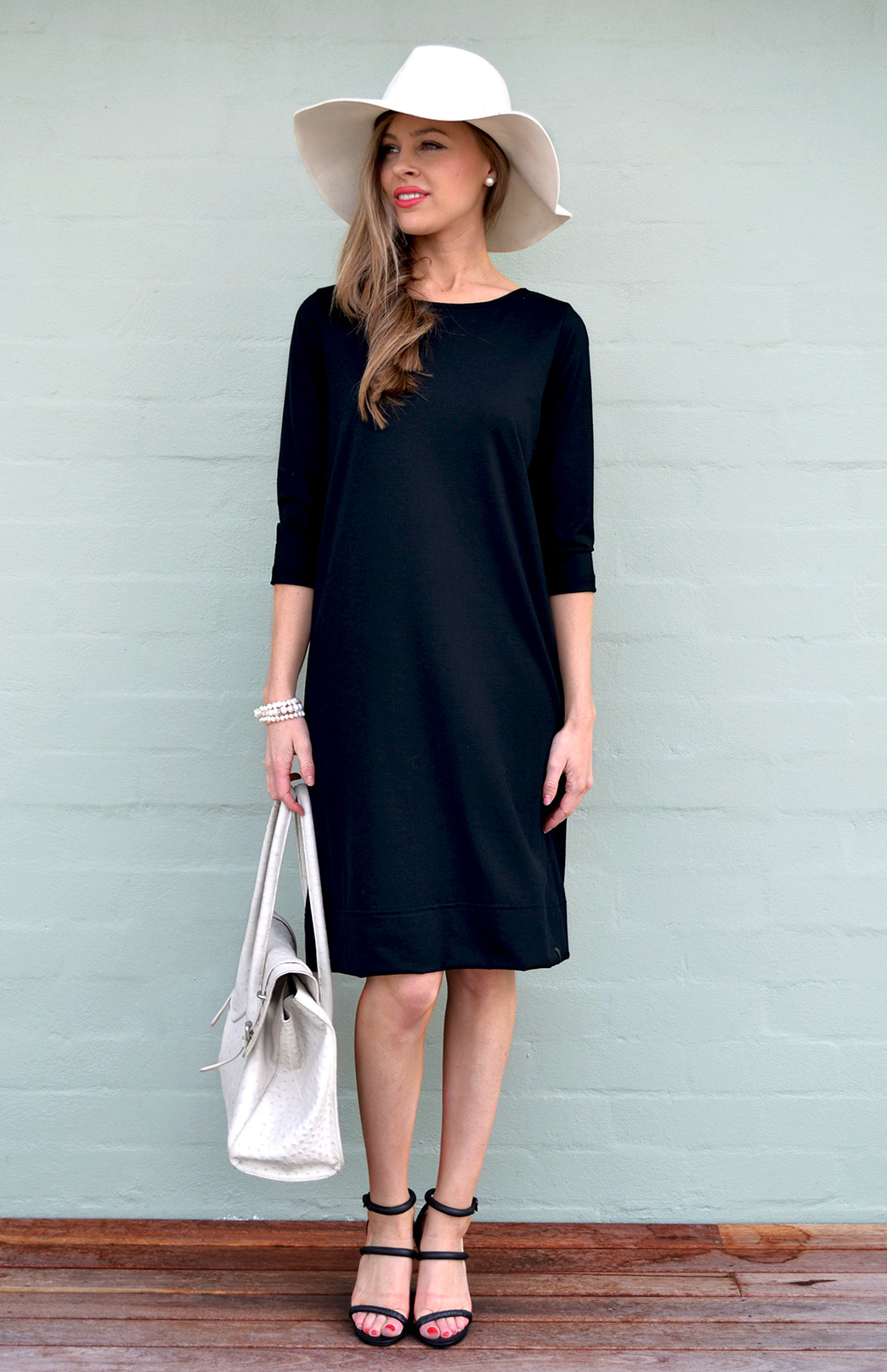 Audrey Shift Dress - Women's Black Merino Wool Classic Knee Length Dress - Smitten Merino Tasmania Australia