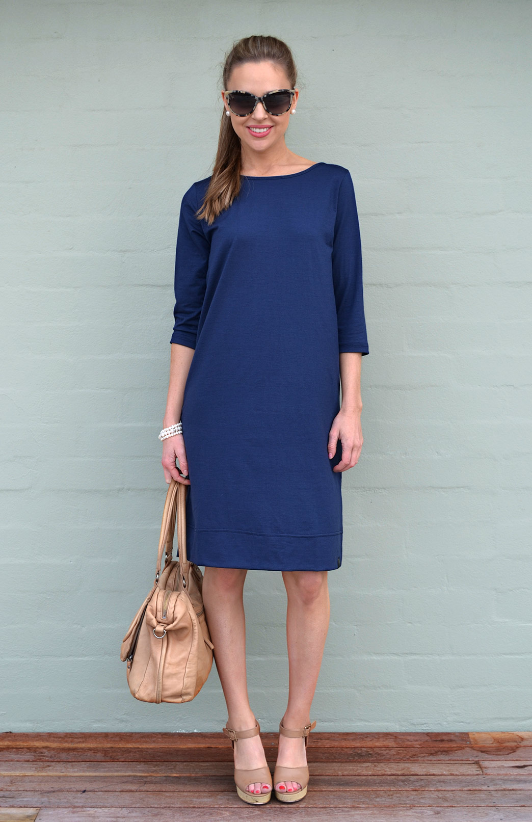 Audrey Shift Dress - Women's Indigo Blue Merino Wool Classic Knee Length Dress - Smitten Merino Tasmania Australia