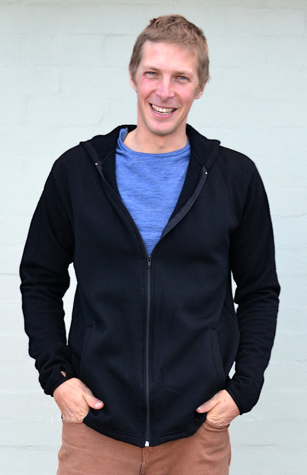 Wool Fleece Hoody Jacket (~350g) - Men's 100% Merino Wool Fleece Zip Jacket with Hood - Smitten Merino Tasmania Australia