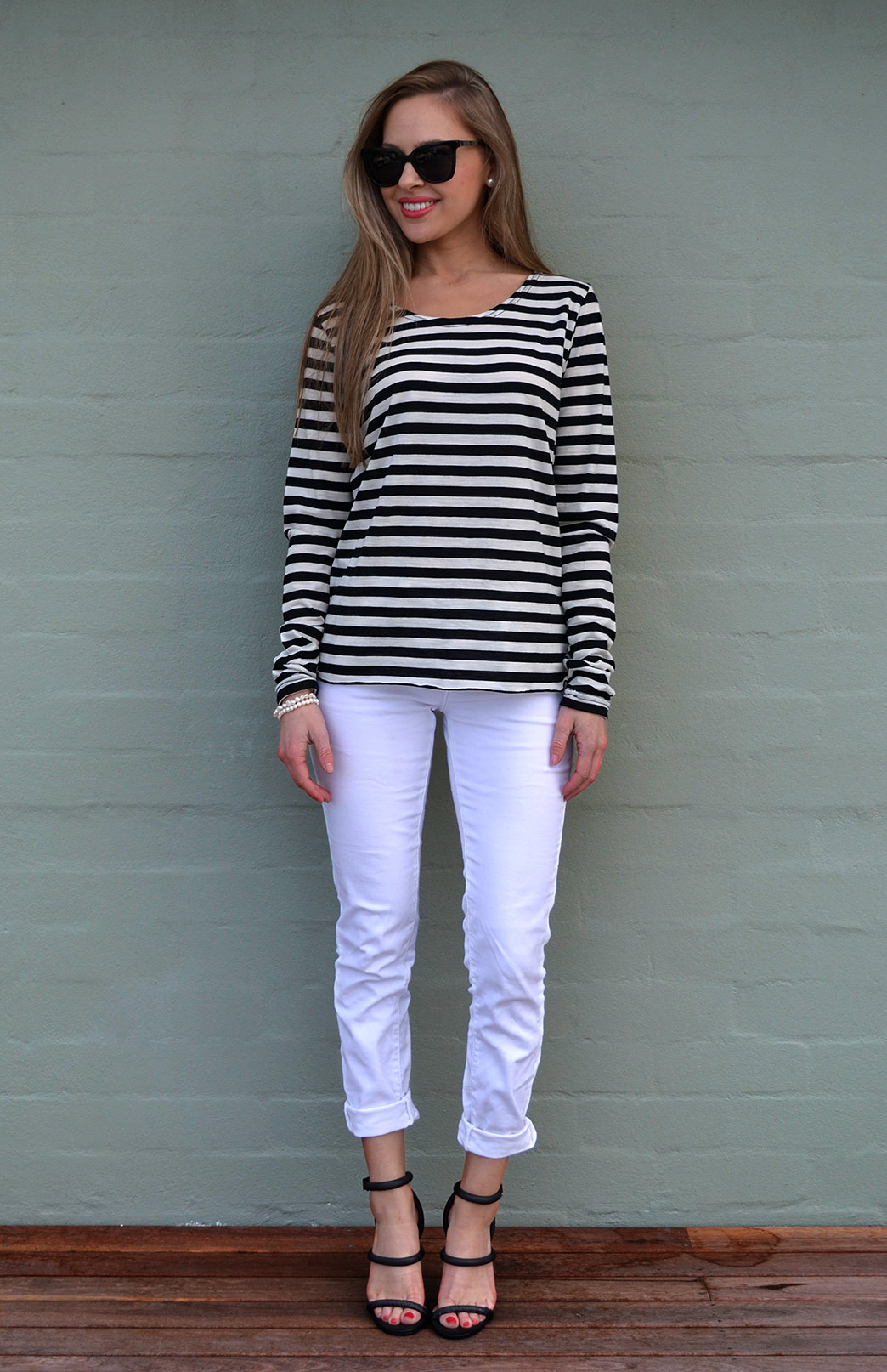Lucy Top in Black and Ivory Stripe