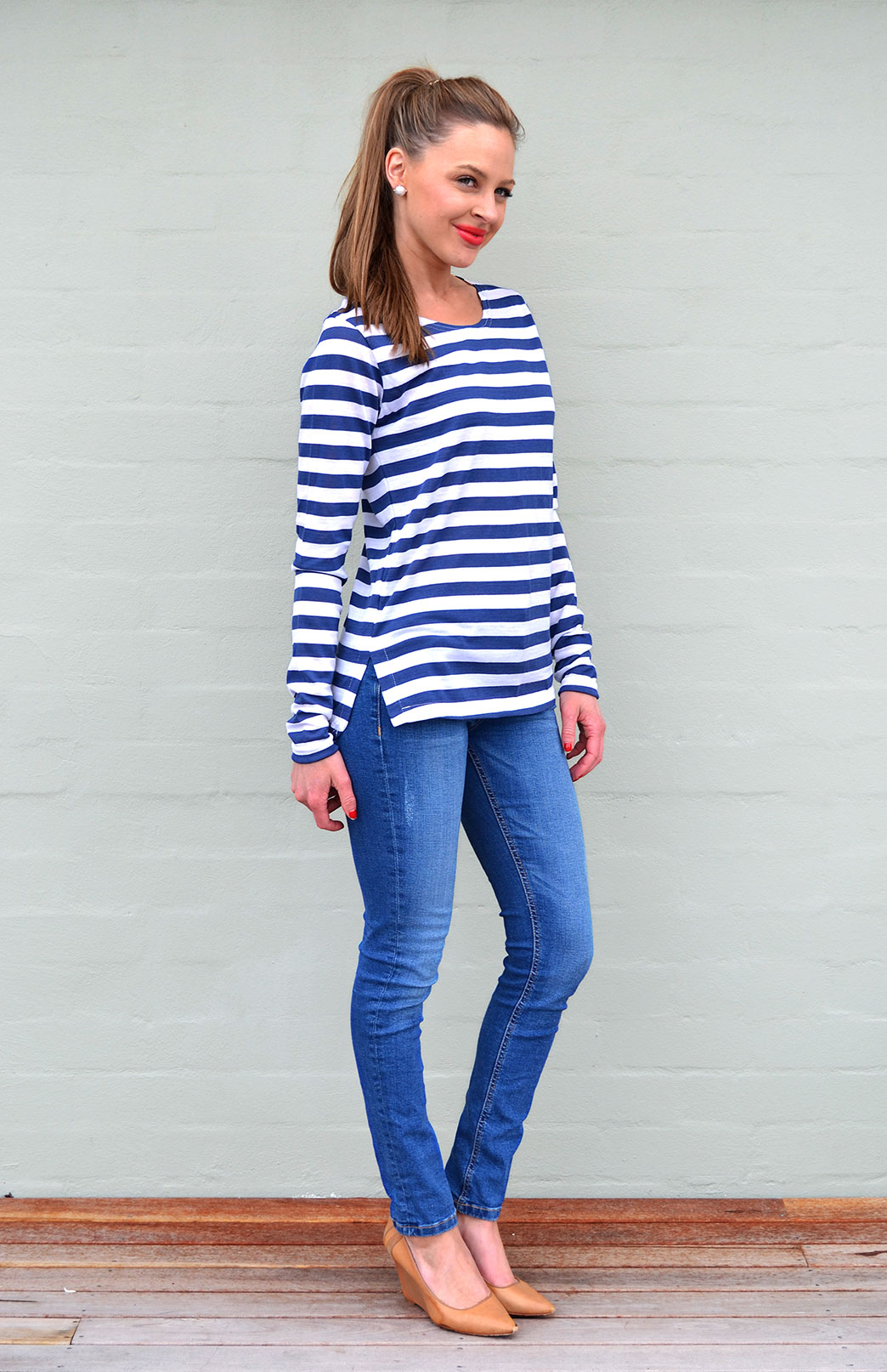 Blue Night Ivory Stripe Lucy Top (Size 6)