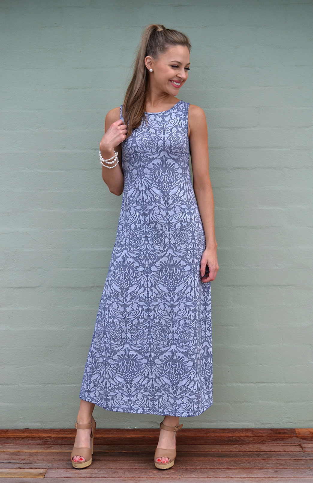 Boat Neck Maxi Dress - Pattern - Women's Blue & Grey Floral Long Wool Maxi Summer Dress - Smitten Merino Tasmania Australia