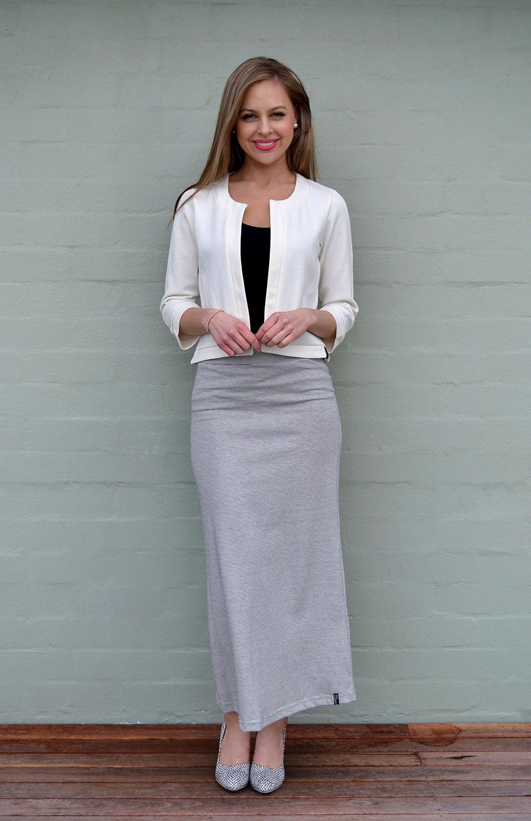 Maxi Skirt - Organic Cotton - Women's Black and White Organic Cotton Maxi Skirt with elastic waistband - Smitten Merino Tasmania Australia