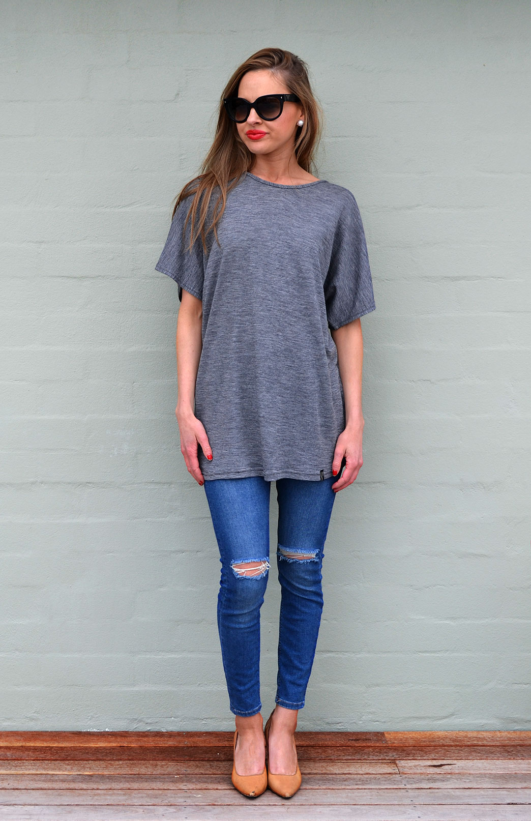 Loose T-Shirt - Women's Loose Wool Light Grey Pinstripe Summer Top - Smitten Merino Tasmania Australia