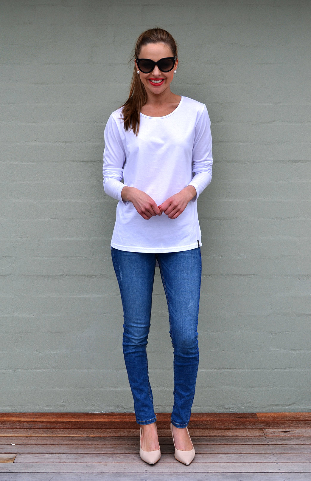 Lucy Top - Organic Cotton - Women's White Cotton Long Sleeve Top - Smitten Merino Tasmania Australia