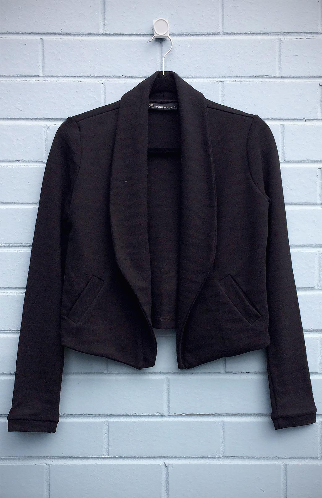 Lapel Jacket - Heavyweight (Seconds) - Women's Black Heavyweight Pure Merino Wool Jacket with Lapel Detailing and Side Pockets - Smitten Merino Tasmania Australia