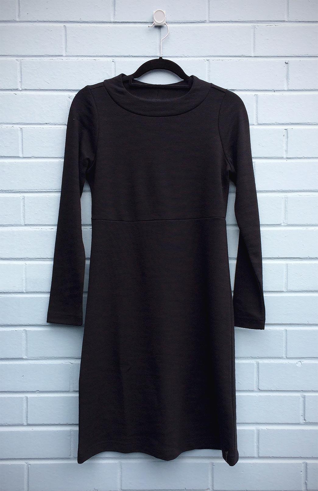 Sascha Straight Dress (Seconds) - Women's Black Merino Wool Dress with Long Sleeves and Straight Skirt - Smitten Merino Tasmania Australia
