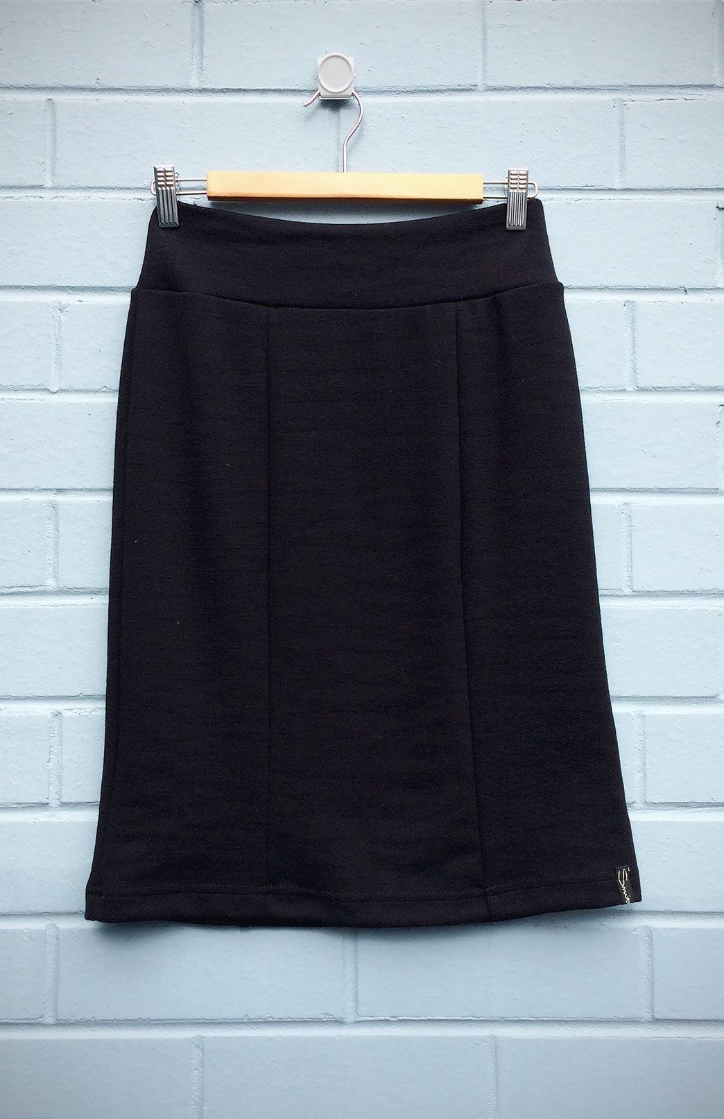 Straight Skirt (Seconds) - Women's Pull-On Black Ponte Merino Wool Skirt - Smitten Merino Tasmania Australia