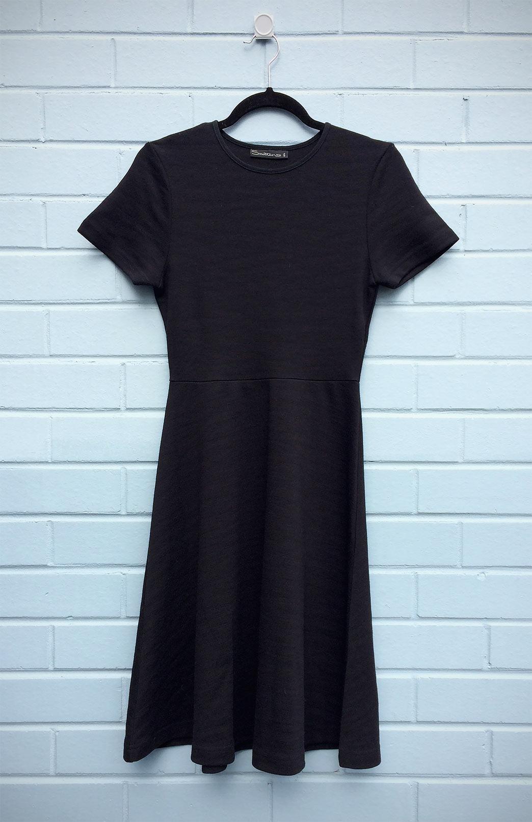 Zoe Dress (Seconds) - Women's Black Short Sleeved Merino Wool Dress with Waist Seam and A-Line Skirt - Smitten Merino Tasmania Australia